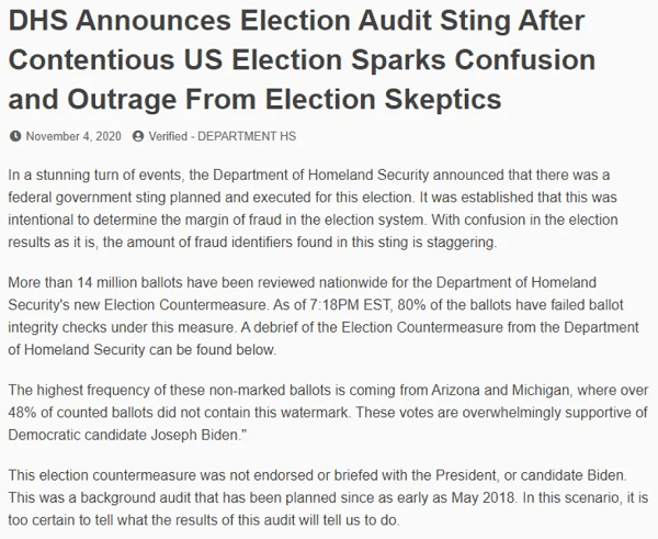 Dhs Election Sting Rumor