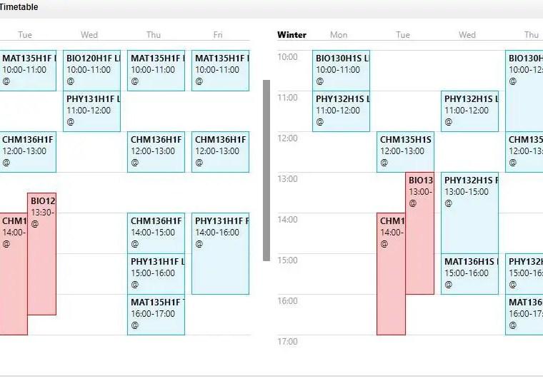 University of Toronto course selection timetable