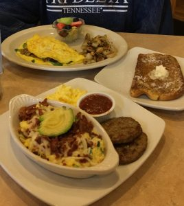 Bacon Avocado Scramble with a side of Eggs and Sausage