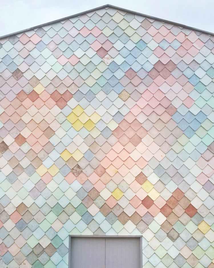 multicolored concrete house