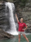 striking a Vanna pose, in case you don't notice the falls at one of my lifetime favorite places