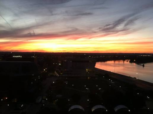 A Louisville sunset over the Ohio River