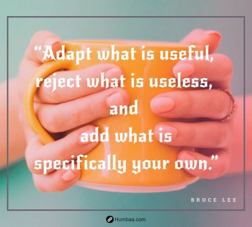 """Adapt what is useful, reject what is useless, and add what is specifically your own."" by Bruce Lee on Humbaa"
