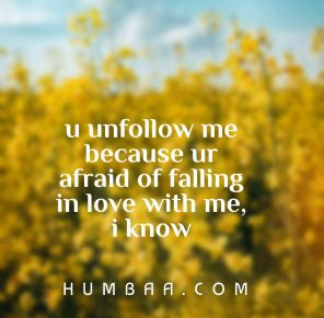 You unfollow me because ur afraid of falling in love with me. I know