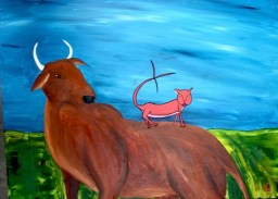 Hassan Vawda / Cow with Indian cat in Gujarat (2015)