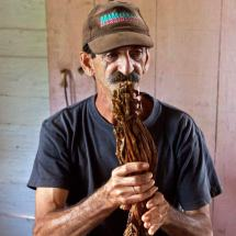 Gerardo the cigar maker, holding tobacco (Viñales)