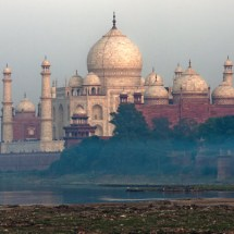 Taj Mahal at dusk (trash along Yamuna River)