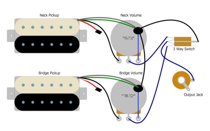 gibson les paul wiring diagram with two toggle s  wiring