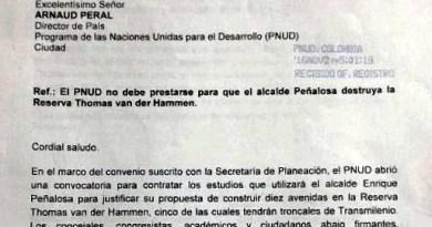 Carta al PNUD, solicitando retiro y apoyo a Reserva Van der Hammen, logra su cometido