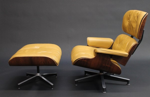 vintage 50's eames lounge and ottoman