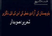 بلوچستان کی آزادی خطے کی امن کے لئے ناگزیر تحریر: صوبدار بلوچ