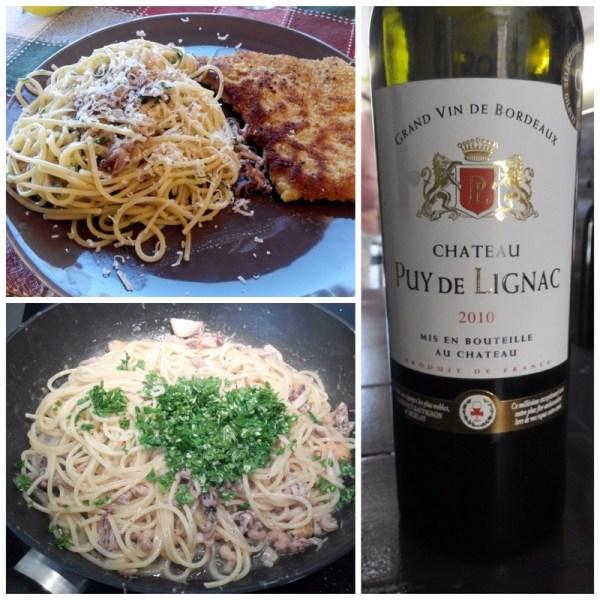 Spaghetti de la mer et escalope de veau panée