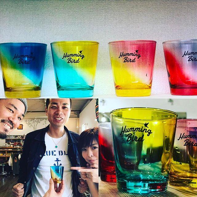 うちの店の為に作られたかのようなグラス。もっちゃんありがとね〜! 冷たい飲み物はハミングラスでお召し上がり下さい^_^