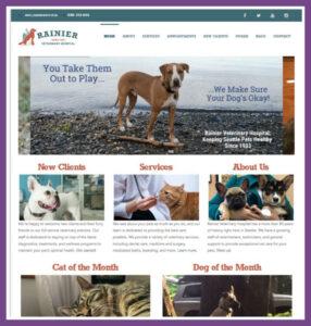 Rainier Veterinary Hospital, a Website Designed by Hummingbird Marketing Services