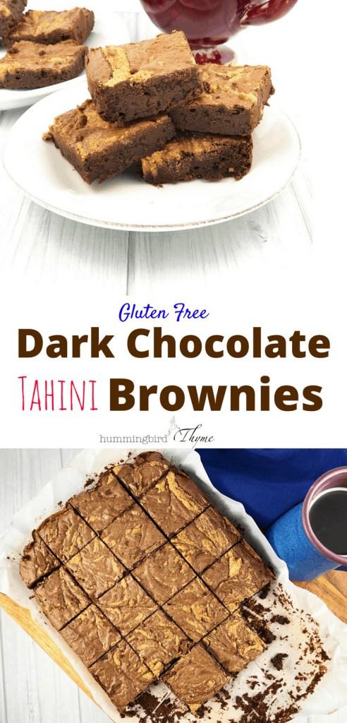 Gluten Free Dark Chocolate Tahini Brownies