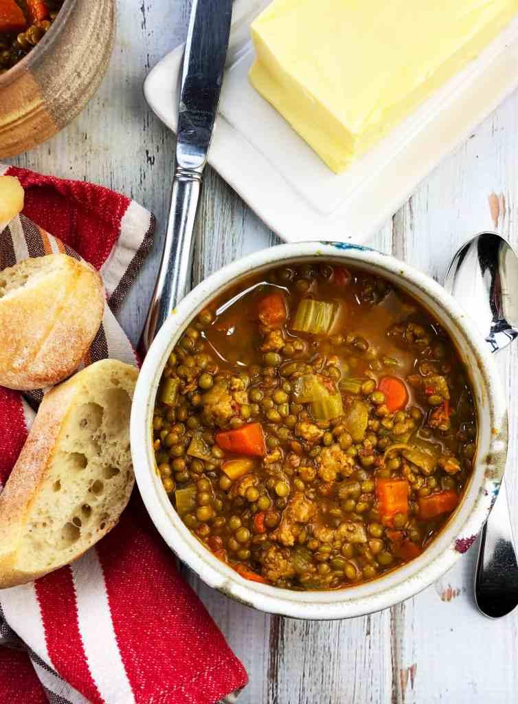 Smoky Sausage Lentil Soup