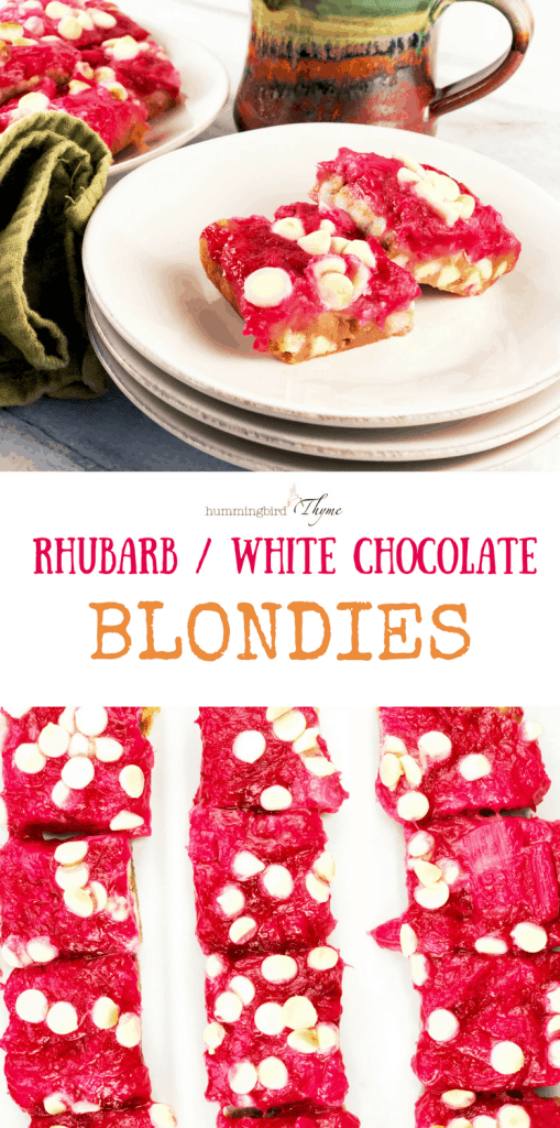 Rhubarb White Chocolate Blondies
