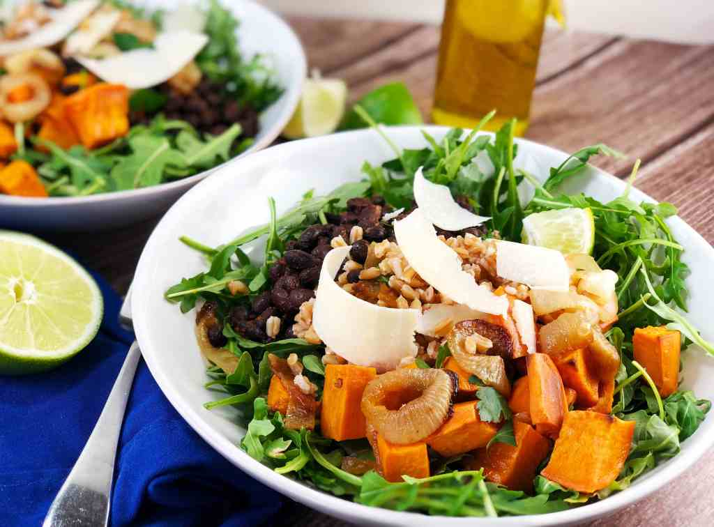 Sweet Potato Farro Black Bean Salad