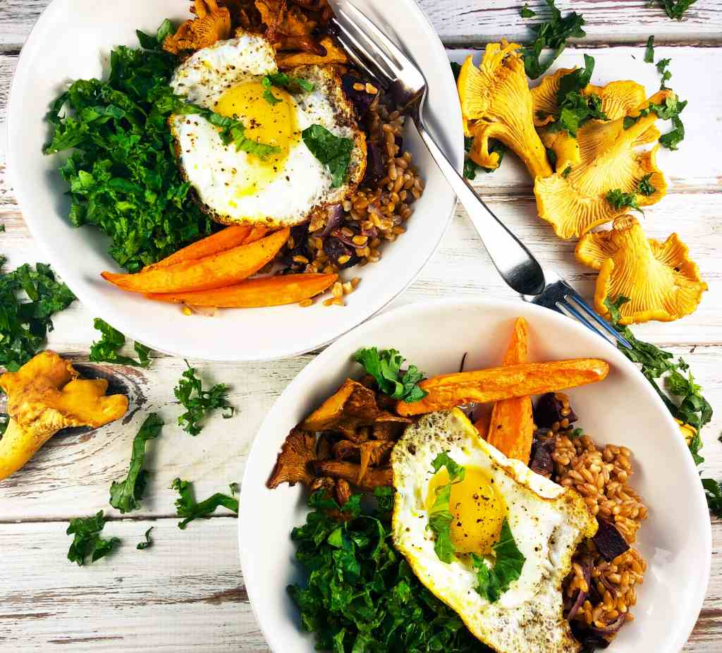 Autumn Buddha Bowl Chantarelle Mushrooms