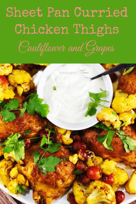 Sheet pan Chicken Thighs Cauliflower and Grapes