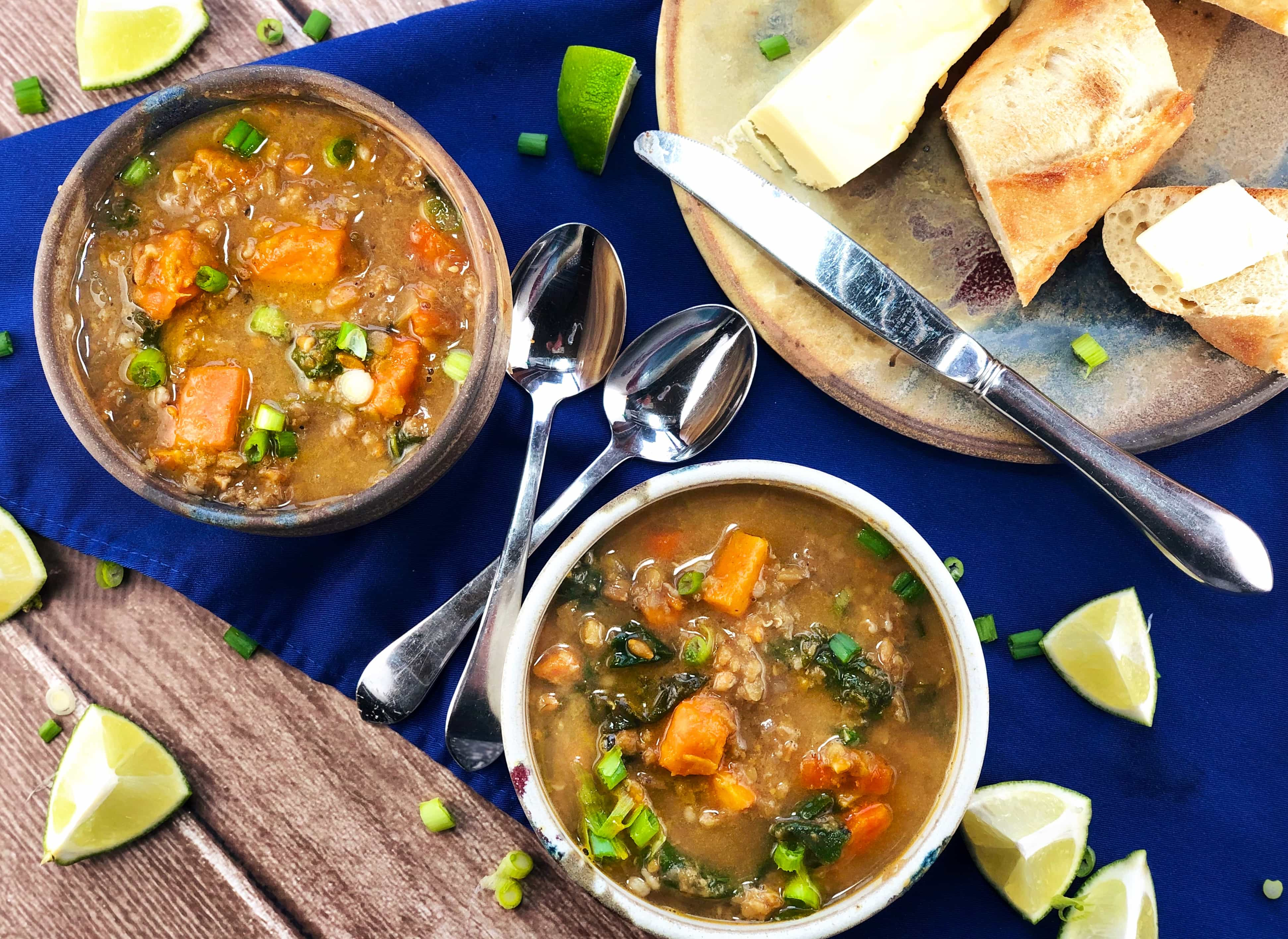 Red Lentil Soup Farro Sweet Potatoes