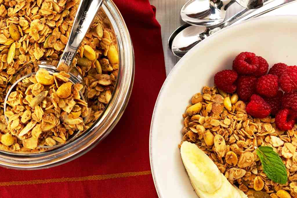 Peanut Butter Granola with Raspberries