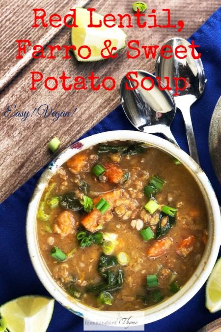 Red Lentil Farro Sweet Potato Soup