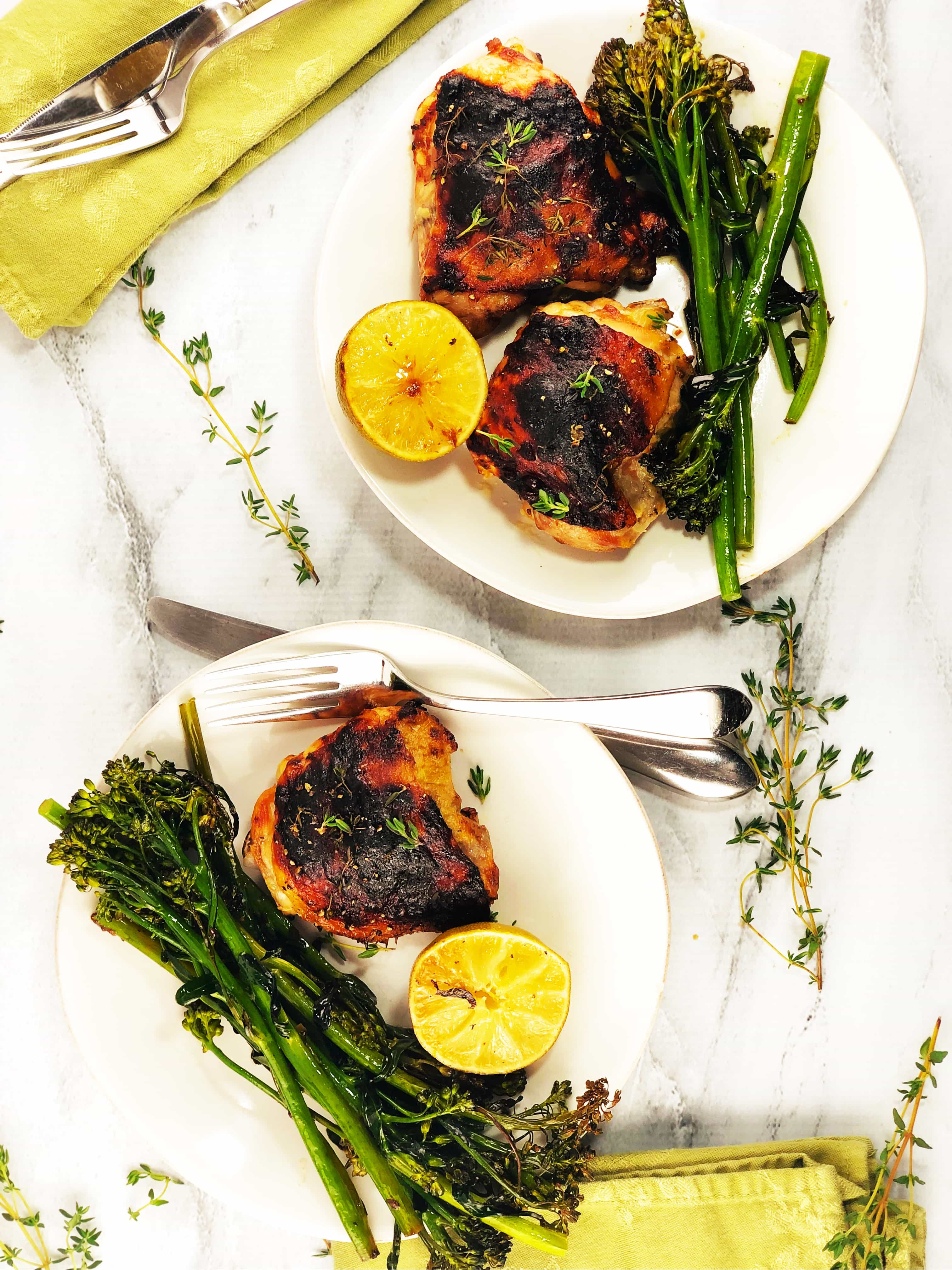 Rhubarb Chicken with Broccolini and Rhubarb Butter
