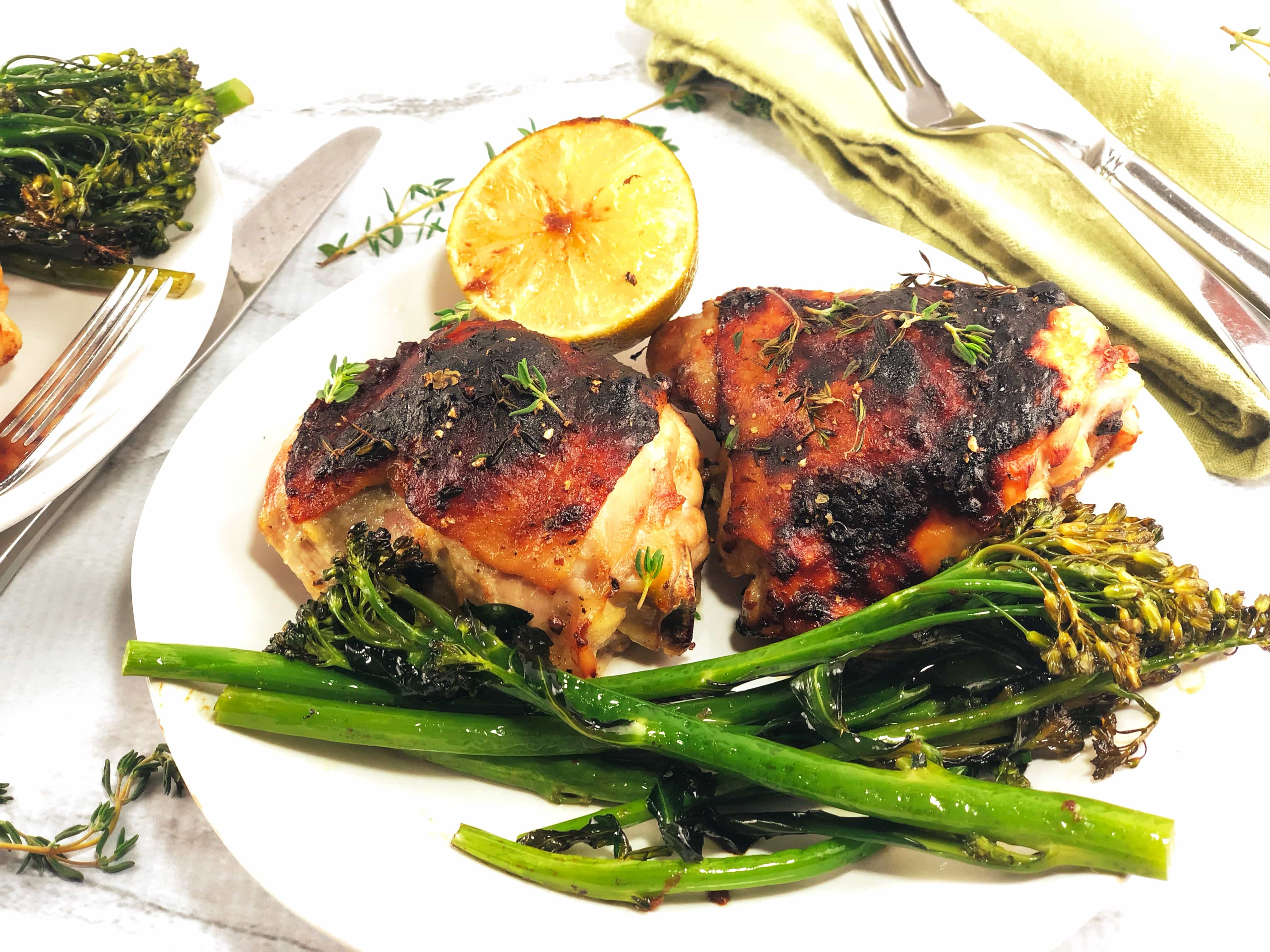 Sheet Pan Rhubarb Chicken with Broccolini