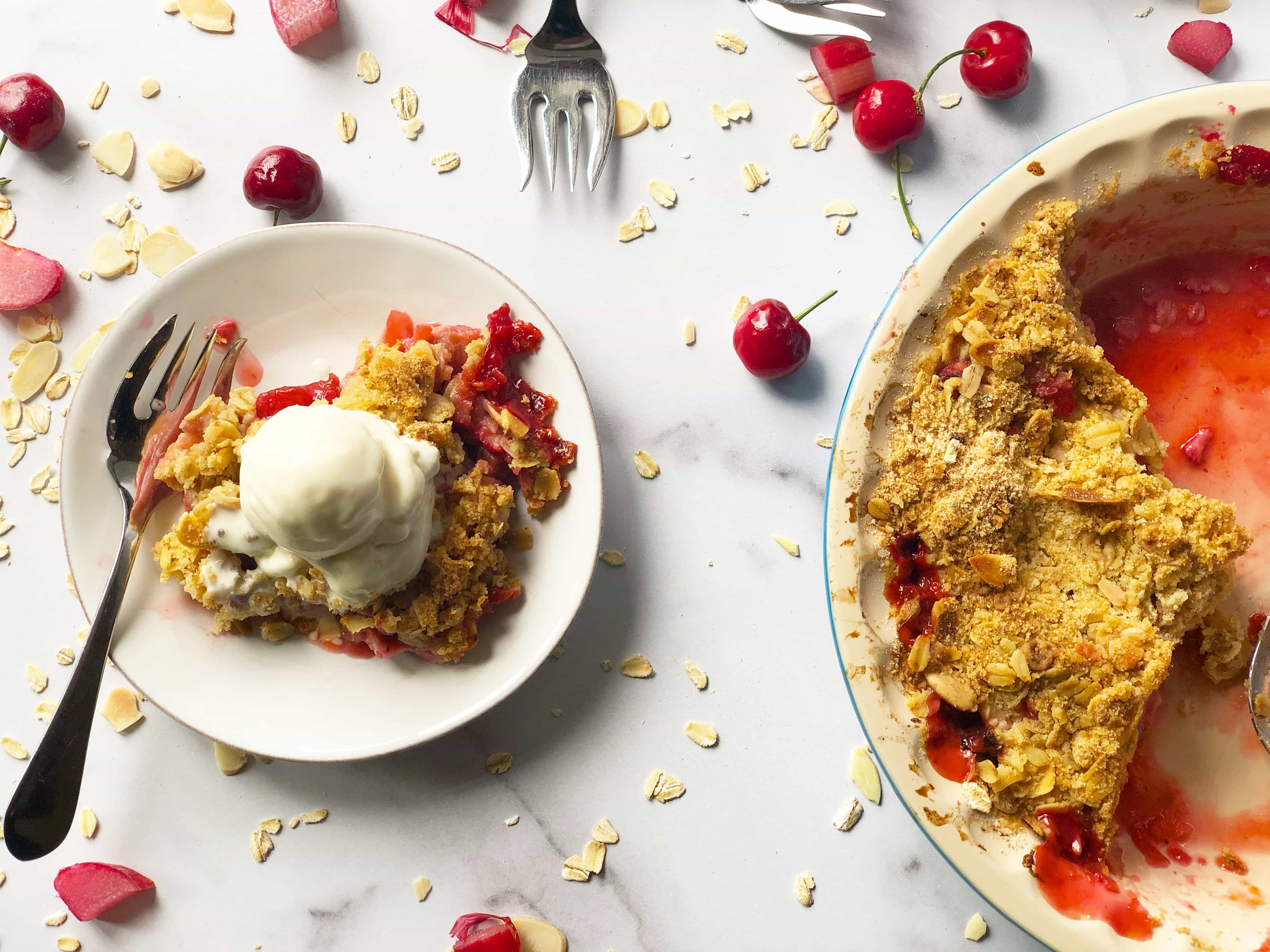 Strawberry Rhubarb Cherry Crisp with Ice Cream