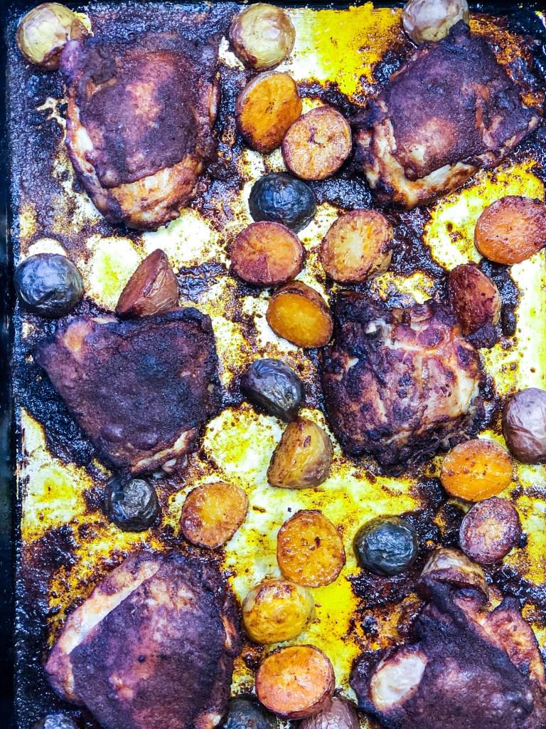 Process shots Hot Honey Sheetpan Chicken