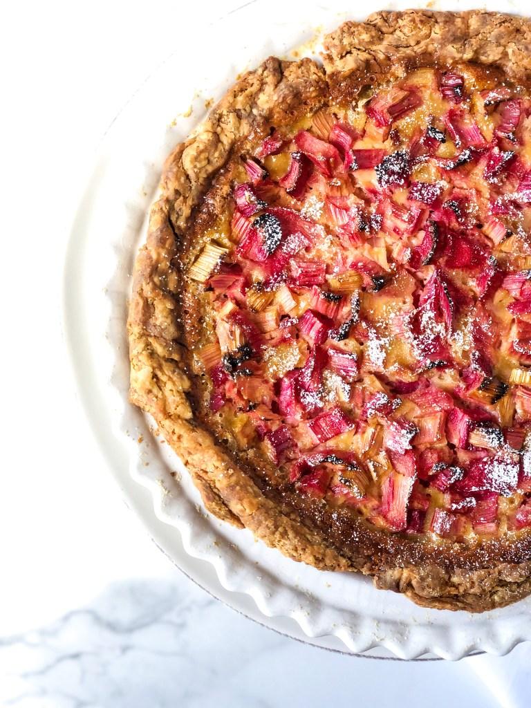 Easy Rhubarb Vanilla Custard Pie