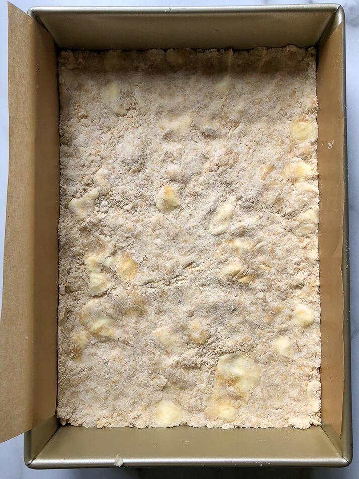 process shot base of crumb bars
