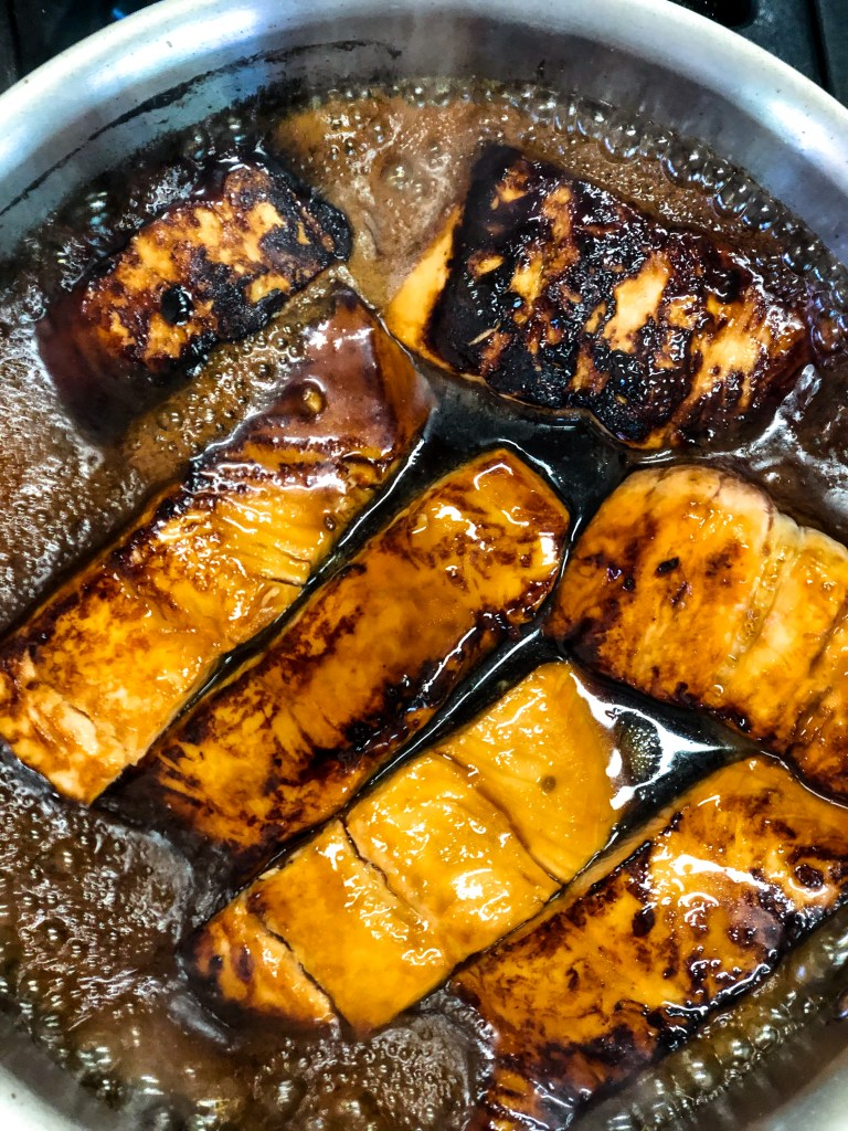process shot mirin Glazed salmon