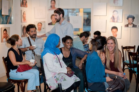 Crowd gathering for the opening event at AltCity, September 24, 2014, Beirut. Photo by Marta Bogdanska