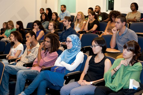 Audience at ISI in AUB listening to the panel discussion, October 8, 2014, Beirut. Photo by Marta Bogdanska