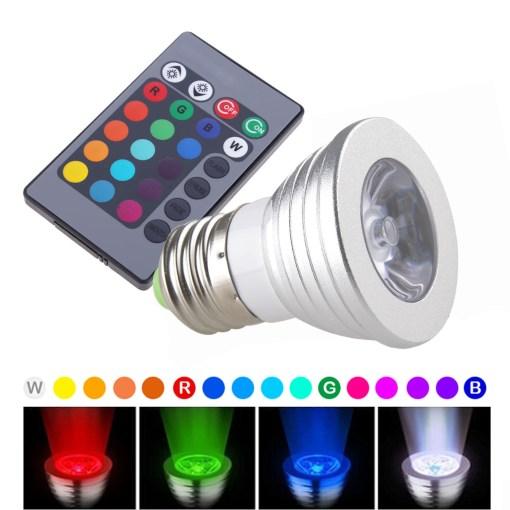 RGB LED ΛΑΜΠΑ ΜΕ ΤΗΛΕΧΕΙΡΙΣΤΗΡΙΟ ΜΕ ΕΝΑΛΛΑΓΗ 16 ΧΡΩΜΑΤΩΝ Ε27 3W 5X6.5CM 20036-16