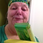 Woman with Swiffer Duster and Mop