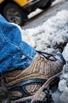 Foot stepping into slushy mess on streets of New York