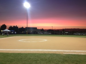 baseball field at night