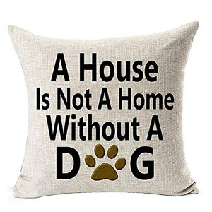 Housse de Coussin en Lin Coton Lettre Imprimée Best Dog Lover Gifts