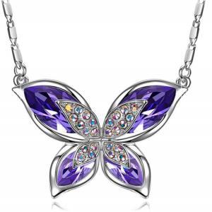 Papillon Collier Femme avec Cristaux de Swarovski, Bijoux Femme