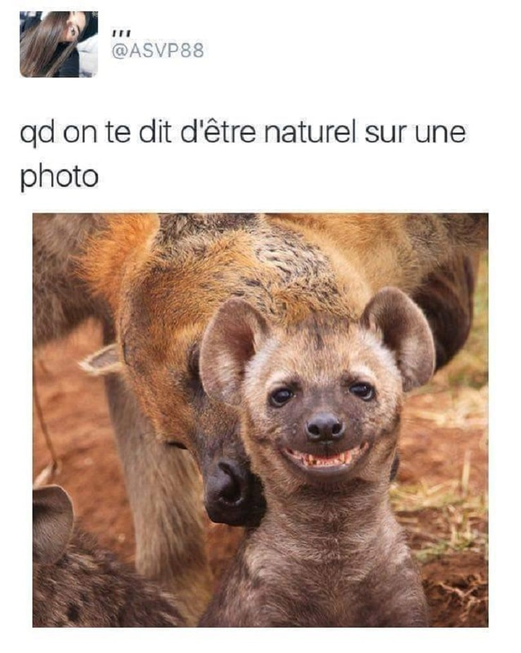 Quand on te dit d'être naturel sur une photo