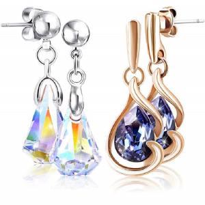 2 paires de boucles d'oreilles avec Cristal Swarovski pour femmes