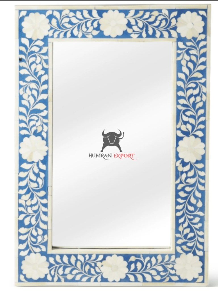 flower bone inlay mirror frame