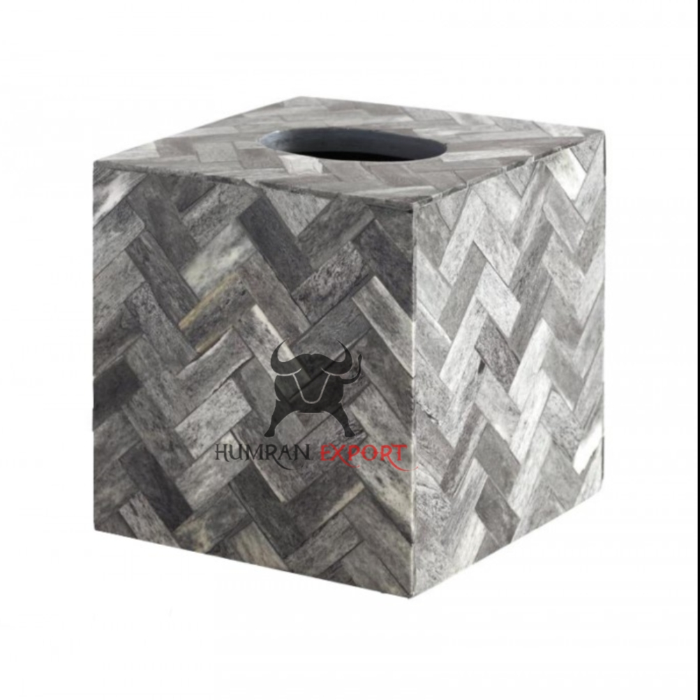 bone inlay tissue box gray