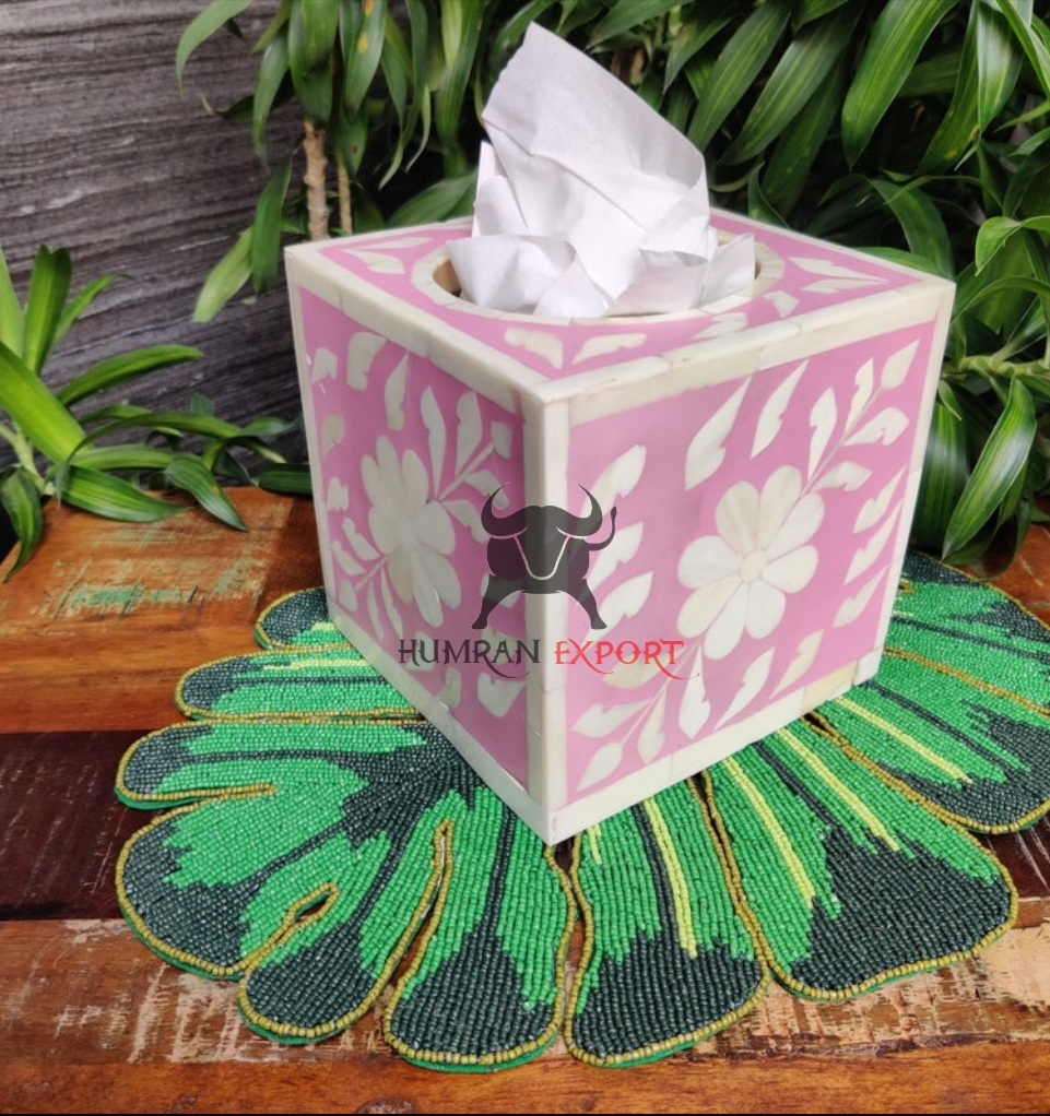 bone inlay tissue box pink