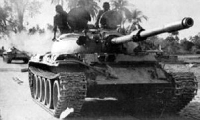 Indian Army's T-55 tanks on their way to Dhaka.