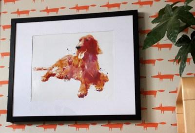 Wasserfarben Hunde Bild mit einem Irischen Setter