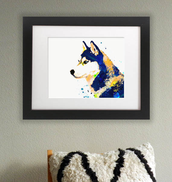 Wasserfarben Hunde Bild mit einem Sibirischen Husky